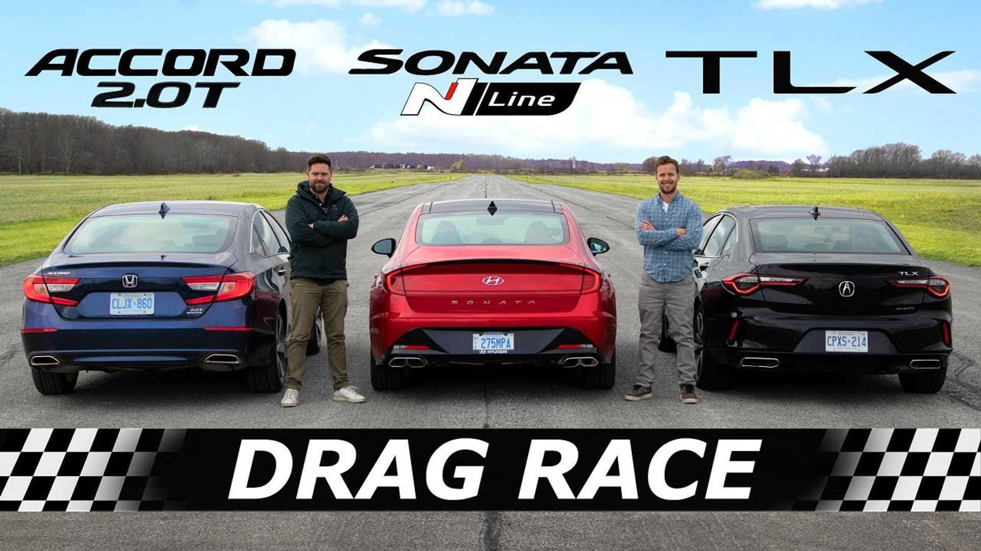 Новый Hyundai Sonata N Line встречает Honda Accord и Accura TLX в Drag Race