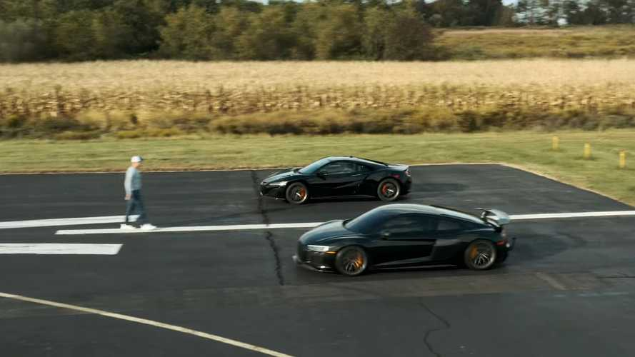 Acura NSX Drag Races Audi R8 V10 Plus In AWD Mid-Engine Battle