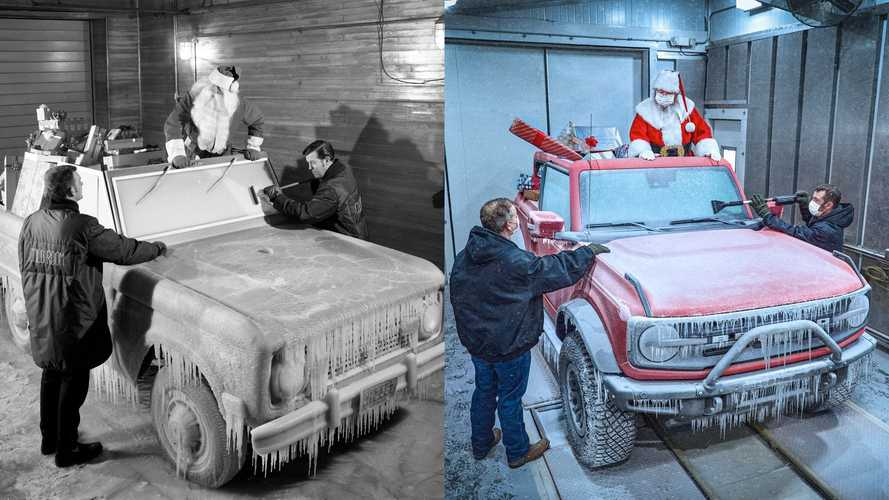 Ford Perfectly Recreated This Old Photo Of Santa In A Bronco