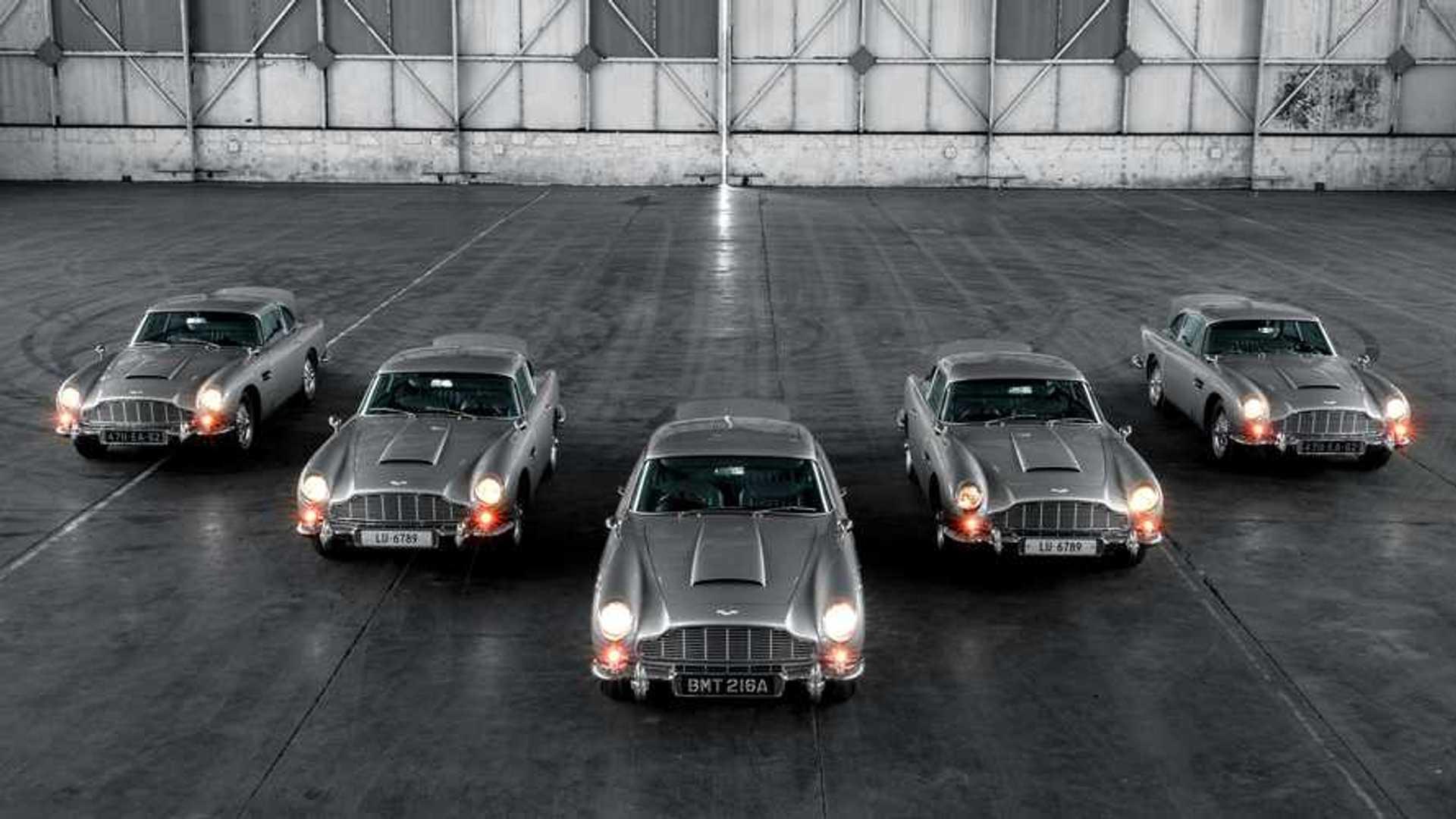 Five Aston Martin Db5 Continuation Cars Fire Their Fake Machine Guns