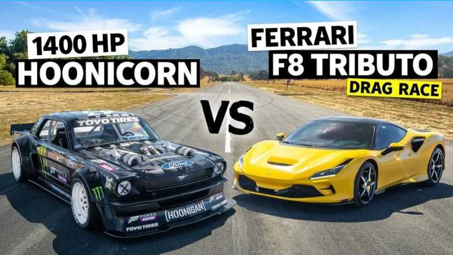 Vidéo - L'Hoonicorn de Ken Block triomphe face à la Ferrari F8 Tributo
