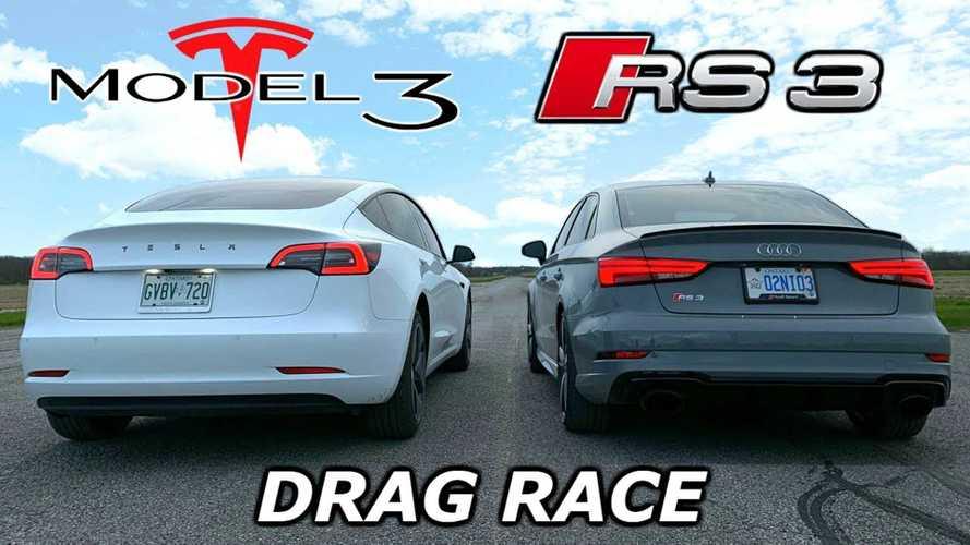 Tesla Model 3 Long-Range AWD Vs Audi RS3: Acceleration Video
