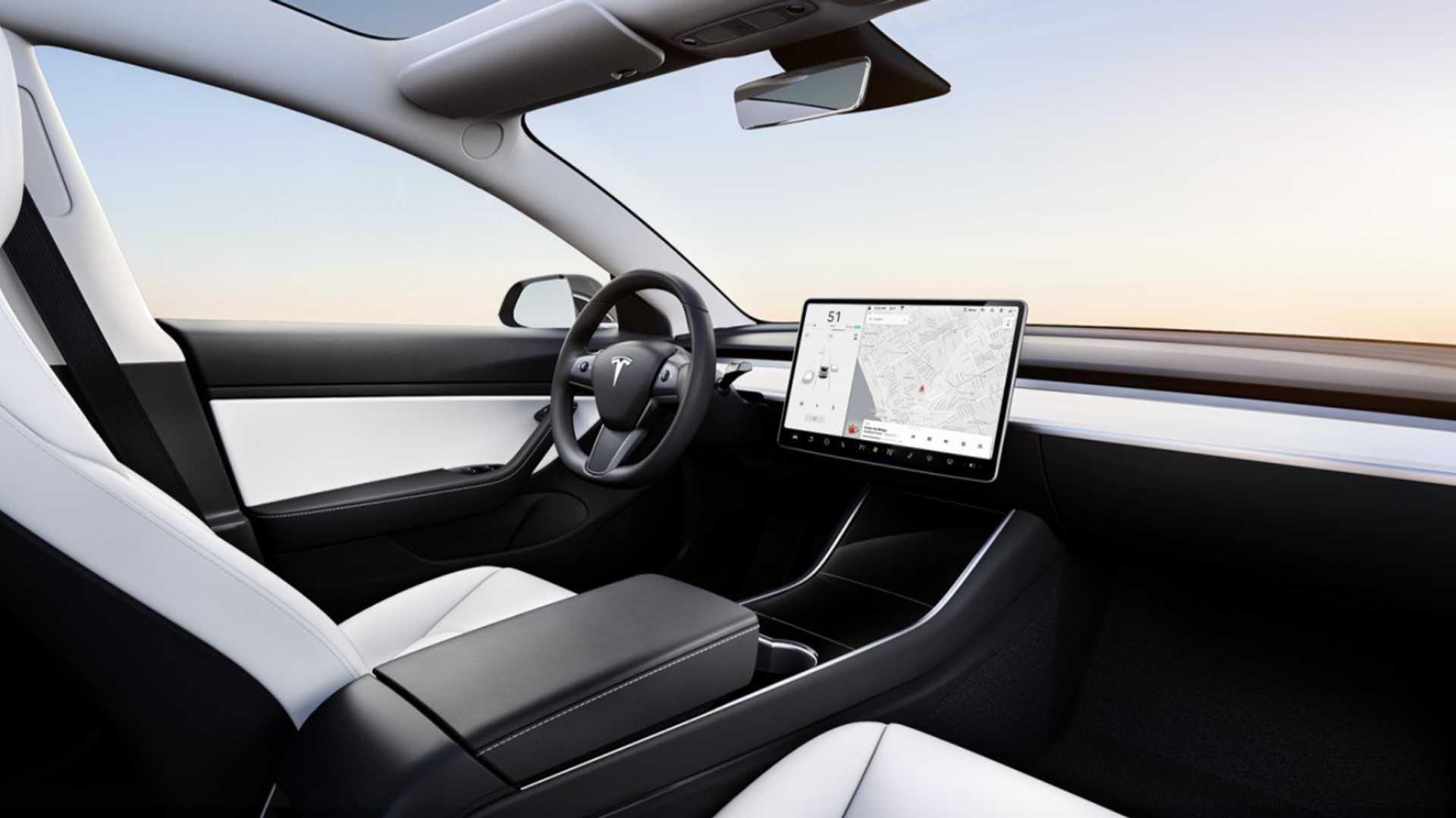 White Tesla Model 3 Interior