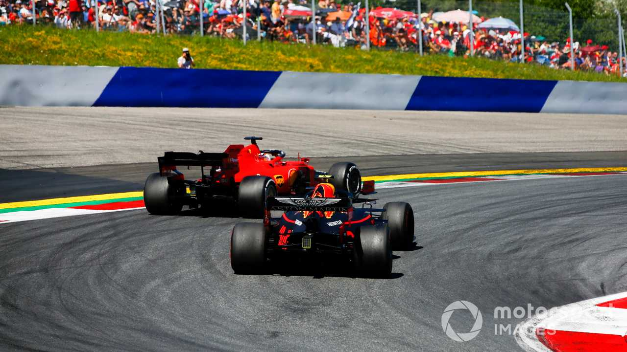 Charles Leclerc and Max Verstappen battle at Austrian GP 2019