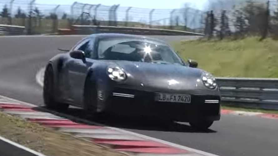 Porsche 911 Turbo spied torturing brakes and tyres at Nurburgring
