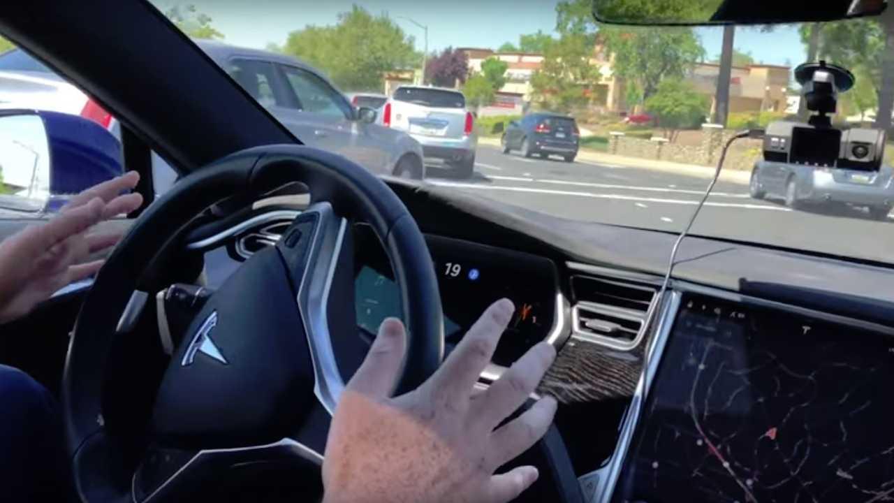 Tesla Model S Autopilot Left Turn