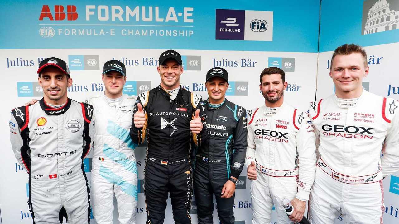 Les pilotes en Super Pole à l'E-Prix de Rome