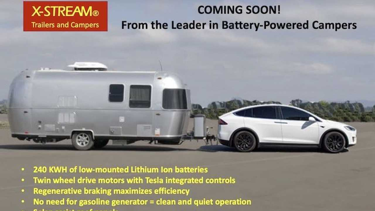 Created image of camper for EVs (fake product), Tesla towing