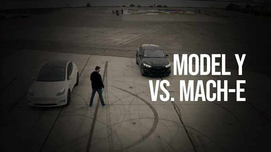 Watch This Tesla Model Y Vs Ford Mustang Mach-E Drag Race