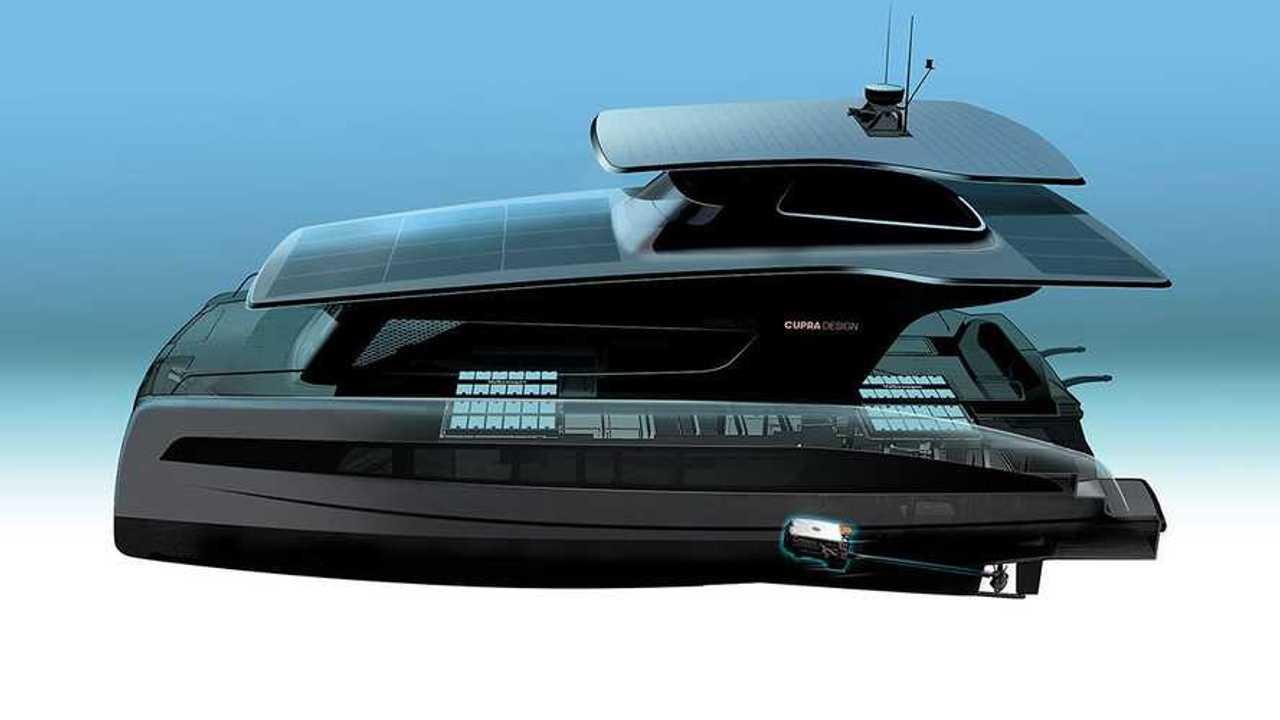 Cupra-Entwurf einer Elektro-Yacht auf Basis des MEB (Bild: VW)