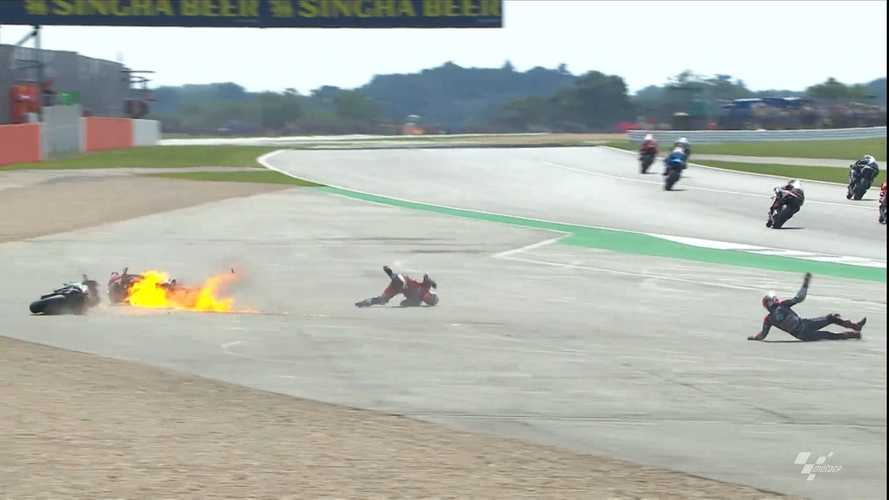 Spectacular MotoGP Crash Sets Ducati On Fire