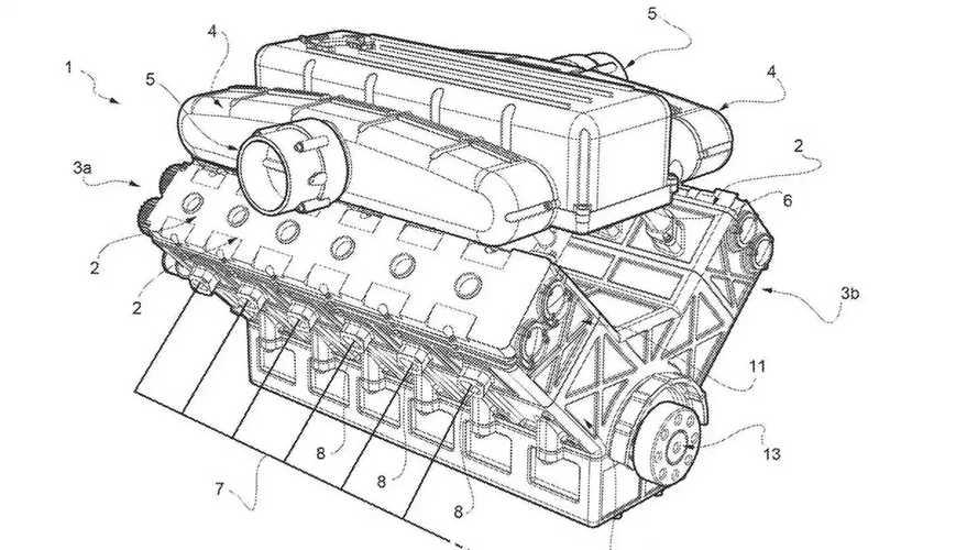 V12 Ferrari i disegni del brevetto