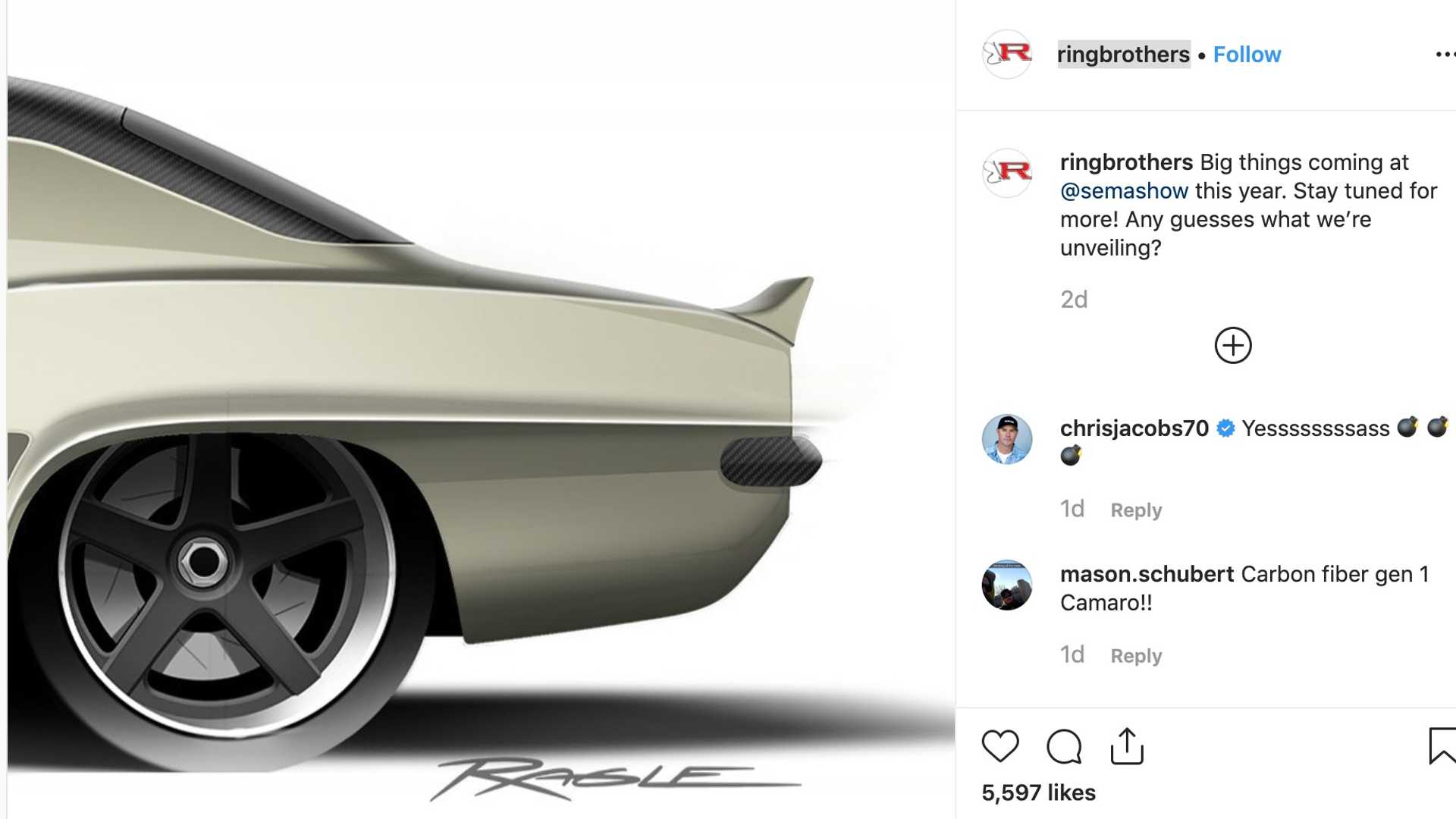 Ringbrothers Teases Classic Chevy Camaro Wearing Carbon Fiber For SEMA