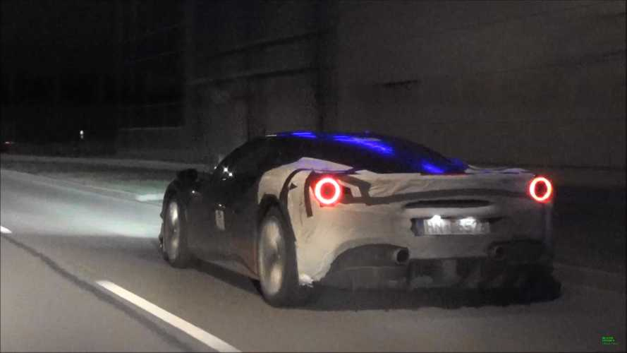Ferrari 488 hybrid test car spied an a dark German street