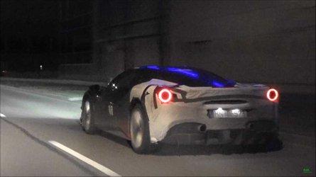 Ferrari 488 Hybrid Test Car Spied On A Dark German Street