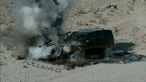 Land Rover Discovery 3 destroyed by tank projectile