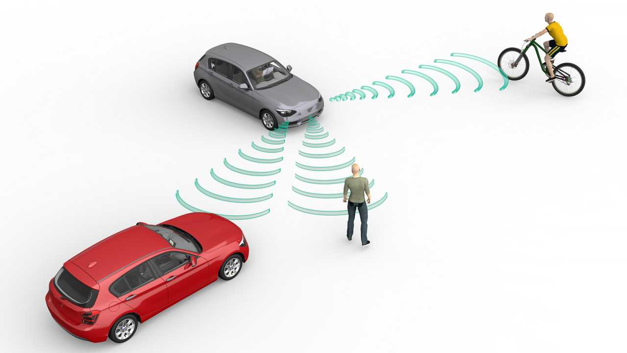 Self driving car sensors detect cyclists and pedestrians illustration