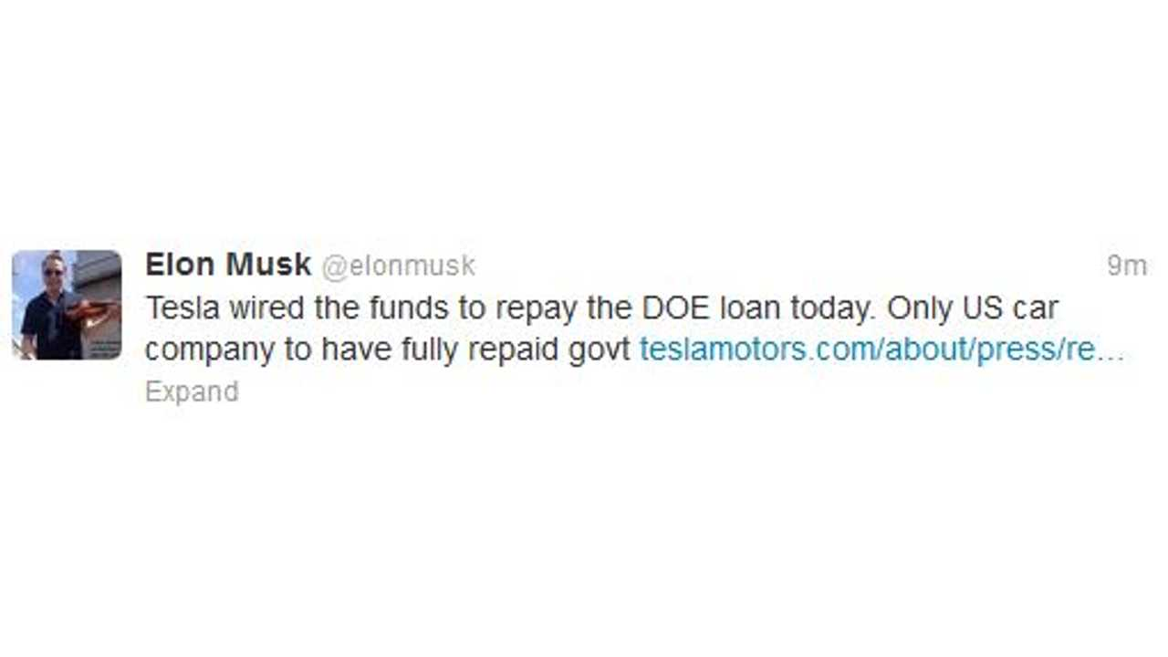 Tesla CEO Takes To His Social Media Platform Of Choice To Announce The Repayment