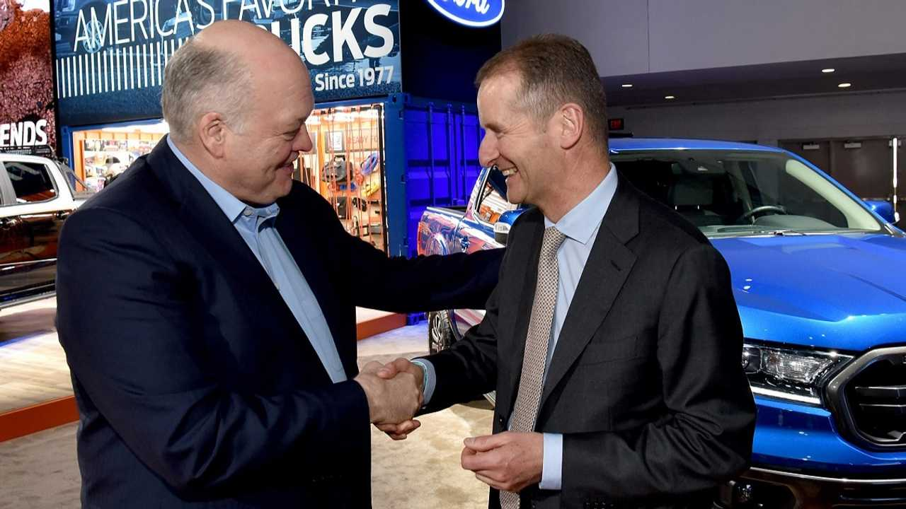 Jim Hackett (Ford) e Herbert Diess (Volkswagen)