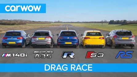Hot Hatch Race: Focus RS vs AMG A35, BMW M140i, Golf R , Audi S3