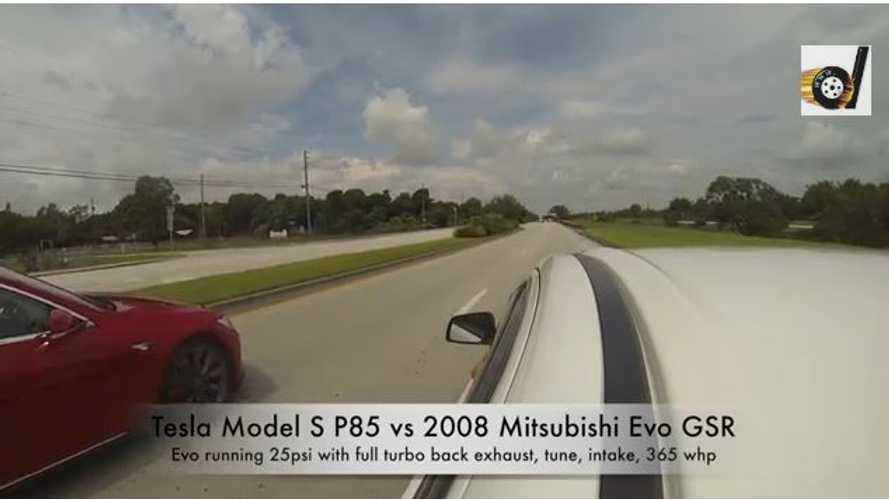 Video: Tesla Model S P85 vs Tuned 2008 Mitsubishi Evo GSR