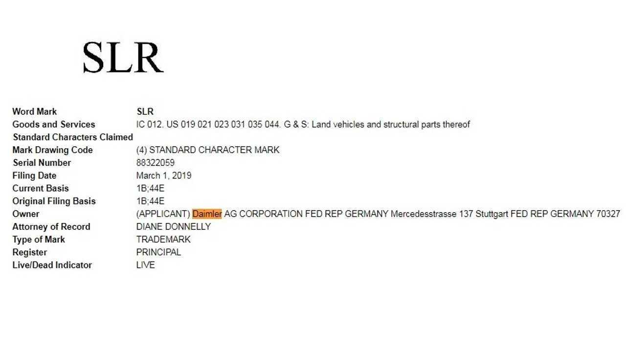 Mercedes SLR trademark