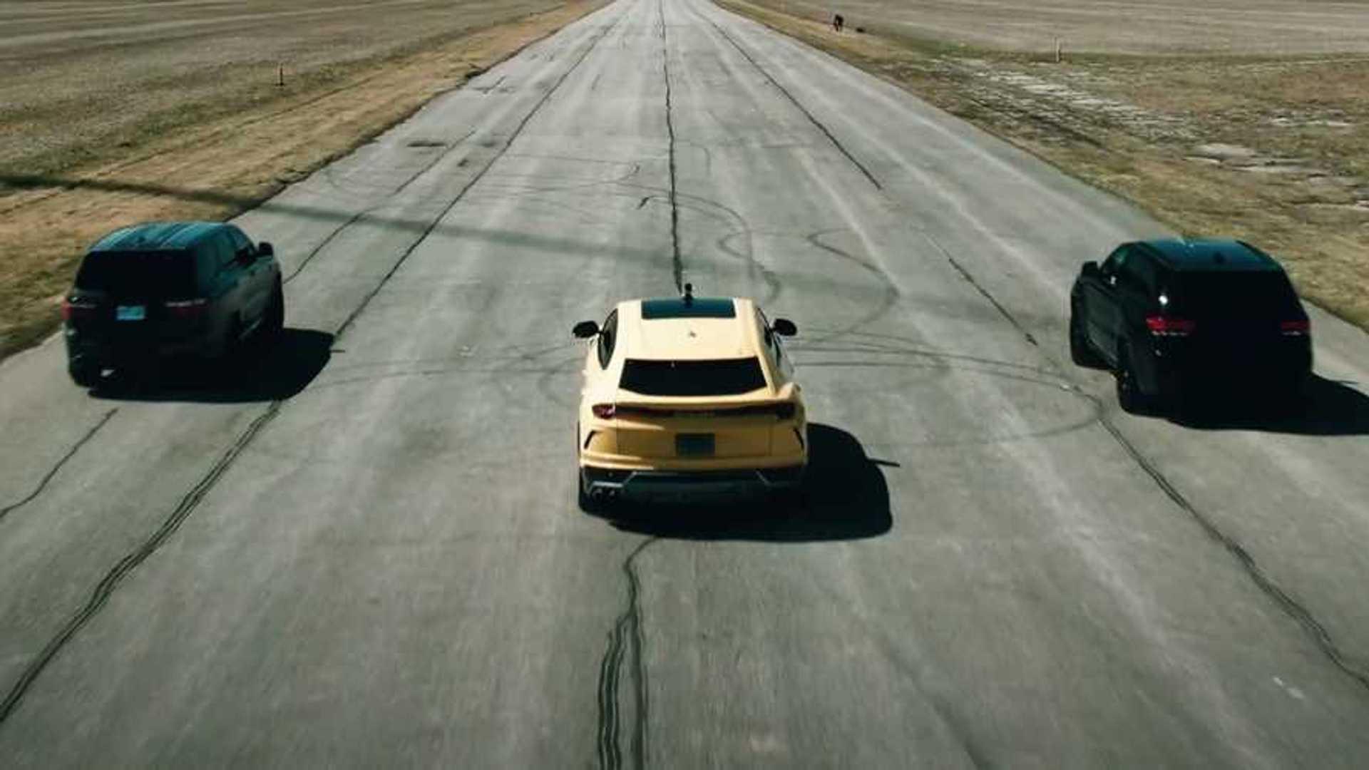 Durango Hellcat Drag Races Jeep Trackhawk, Urus In Potent SUV Showdown
