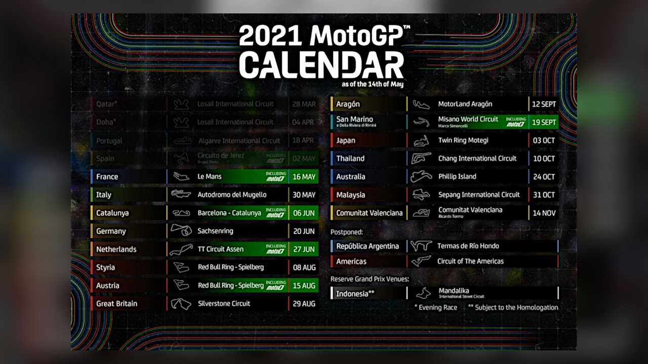 2021 MotoGP Calendar - Revised May 2021