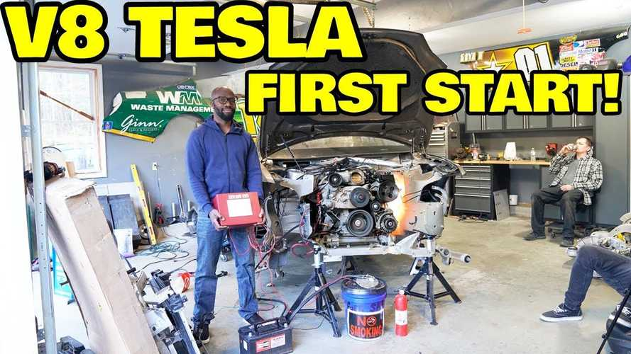 Watch World's First V8 Powered Tesla Start Its Engine