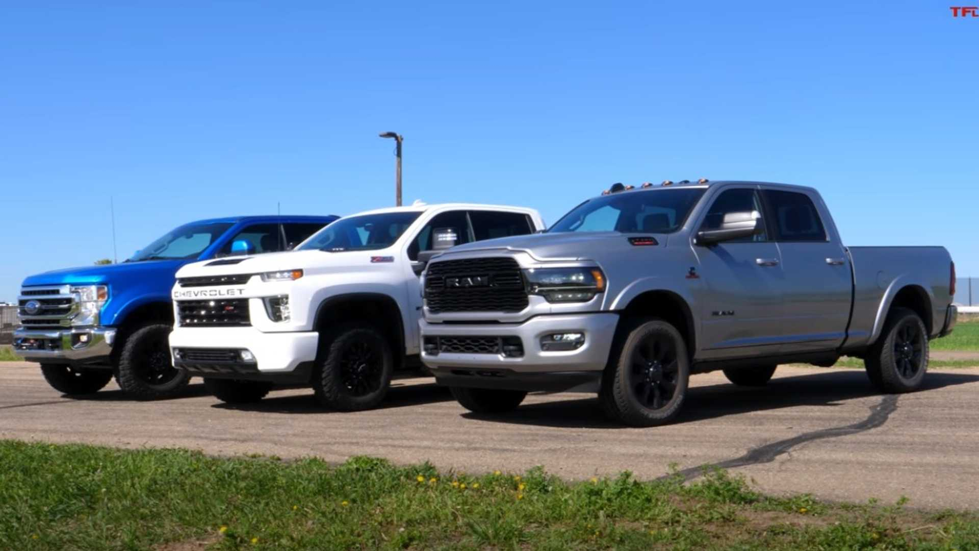 Heavy Duty Truck Drag: Chevy, Ram, And Ford Meet On The Track