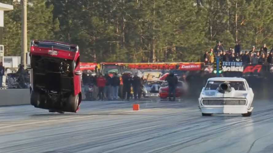 Watch Drag Racer Fly Before Smashing Into Side Wall, And Survive