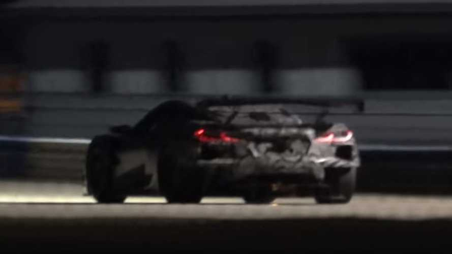 Mid-engined Chevy Corvette race car spied testing at night
