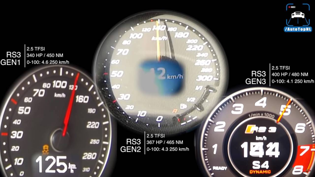 Audi RS3 Speed Comparison