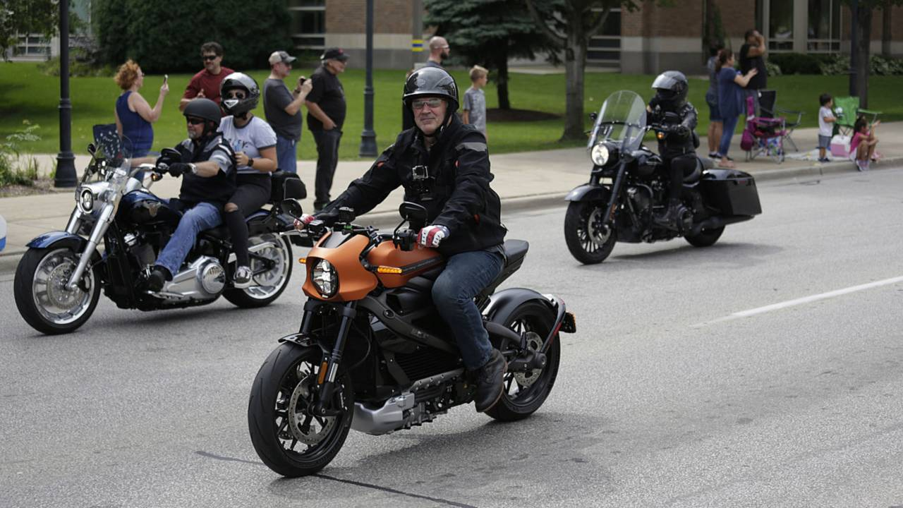 A quiet Harley for once—the Livewire made an appearance at the Sunday parade.