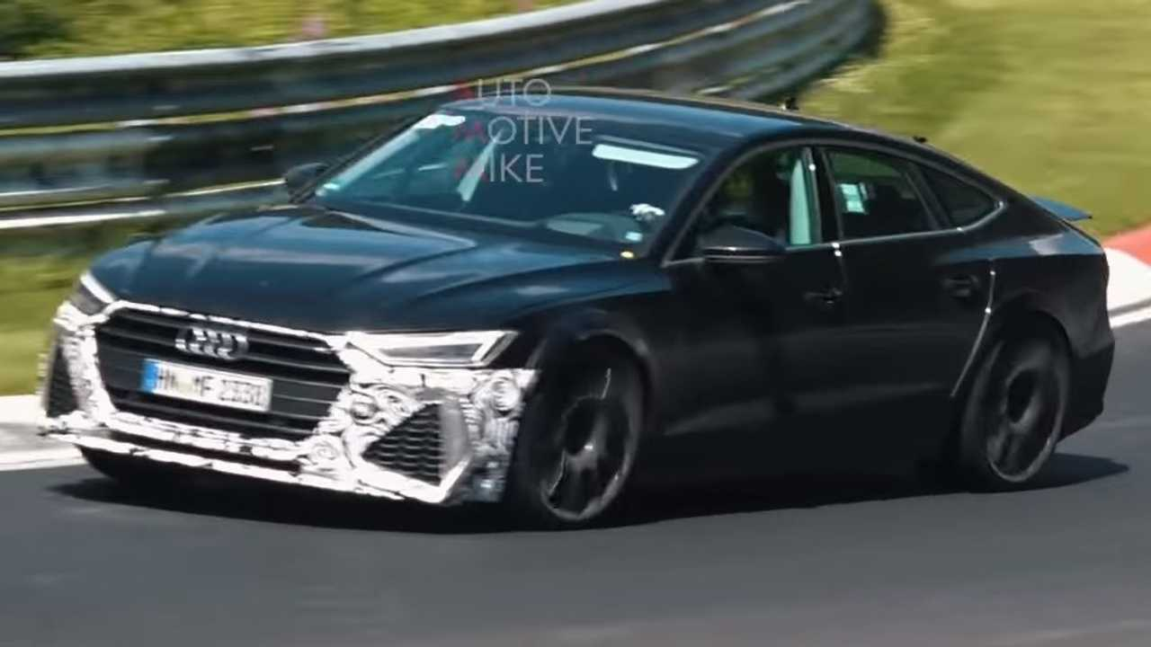 new audi rs7 sportback spotted with roll cage and massive wheels