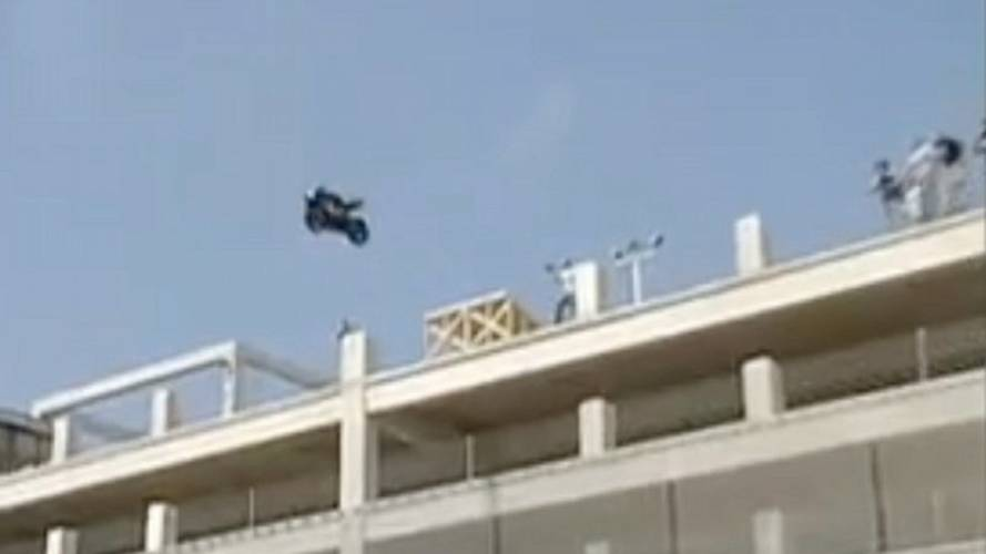 Throwing a motorcycle off a 15-story building