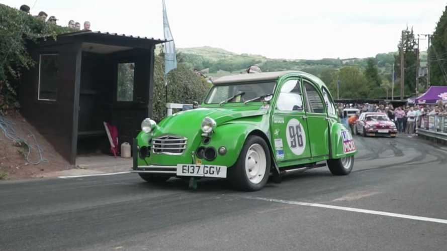 Crazy supercharged Citroen 2CV at the Shelsley Walsh Hillclimb
