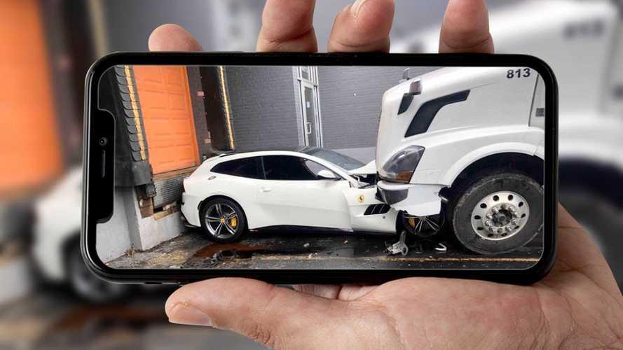 Disgruntled Truck Driver Parks His Semi On Boss's Ferrari