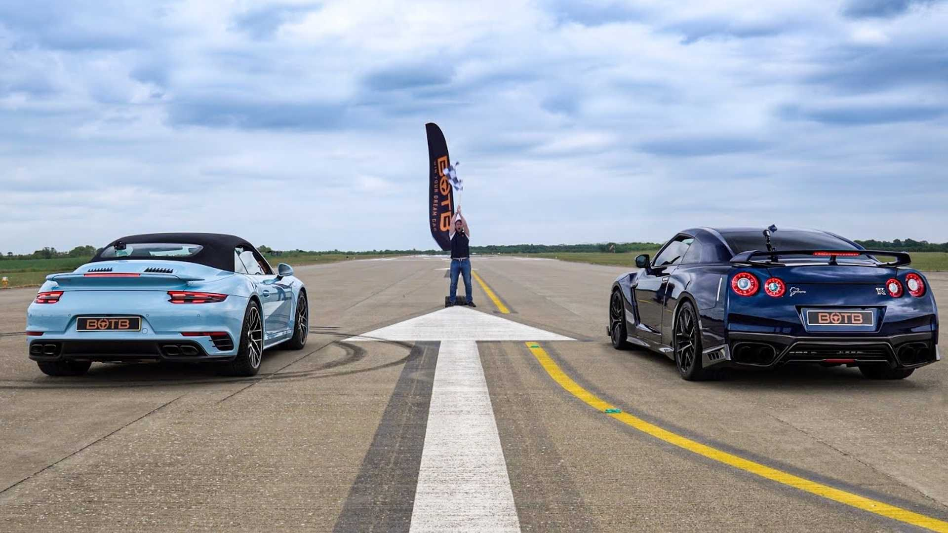 Tuned 690-HP Nissan GT-R Drag Races 991.2-Gen Porsche 911 Turbo S