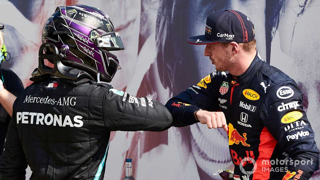 Lewis Hamilton and Max Verstappen at 70th Anniversary GP