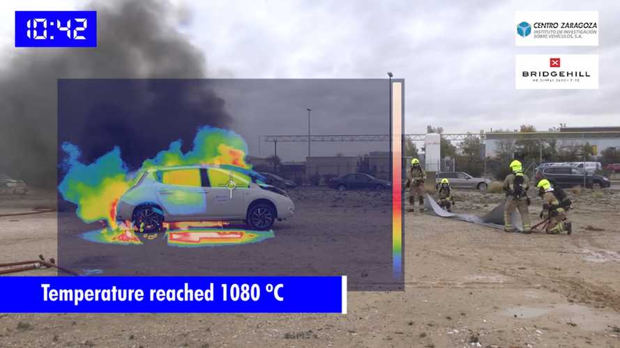 Giant Fire Blanket Helps Cut Battery Reignition In Electric Car Blazes