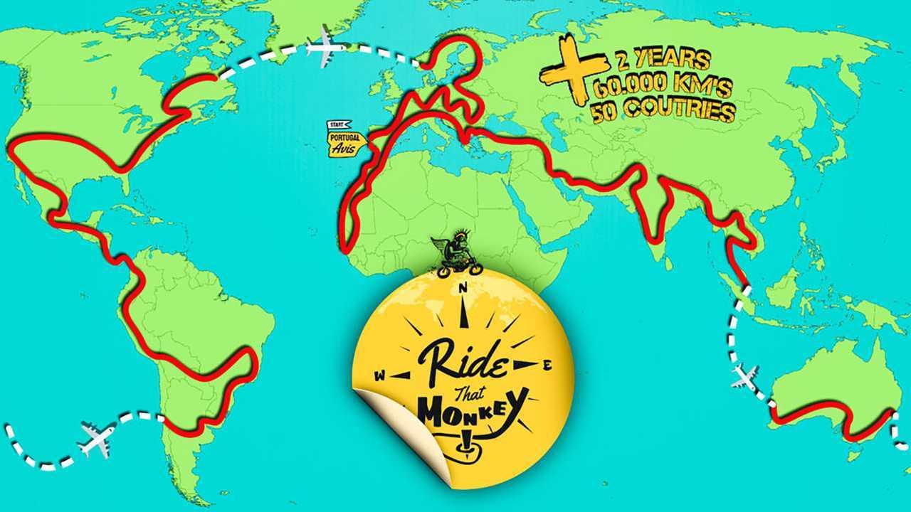 Dude Will Travel 37,000 Miles Around The World On A Honda Monkey