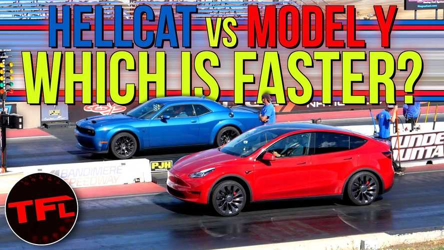 Watch Tesla Model Y Take On Dodge Challenger Hellcat Redeye In Four Drag Races