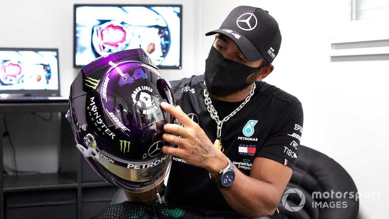 Lewis Hamilton with his Black Lives Matter helmet at Austrian GP 2020