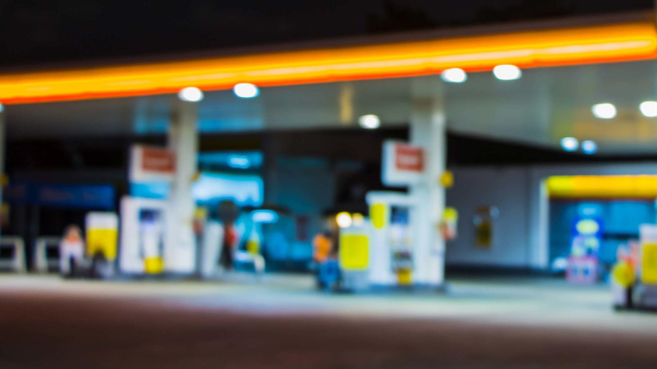 Filling station at night