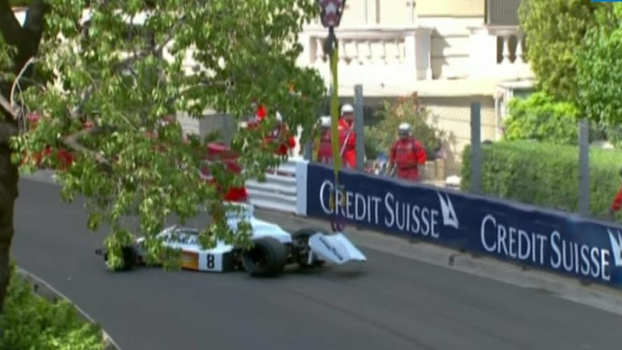 Crane drops McLaren M23 race car at Historic Grand Prix of Monaco
