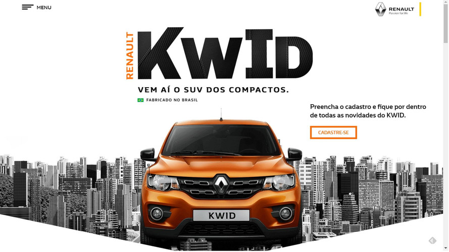 Renault tira contagem regressiva do site do novo Kwid