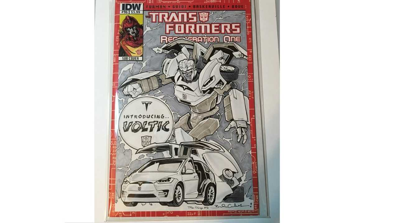 Tesla Model X Rendered As A Transformers Comic Book Robot