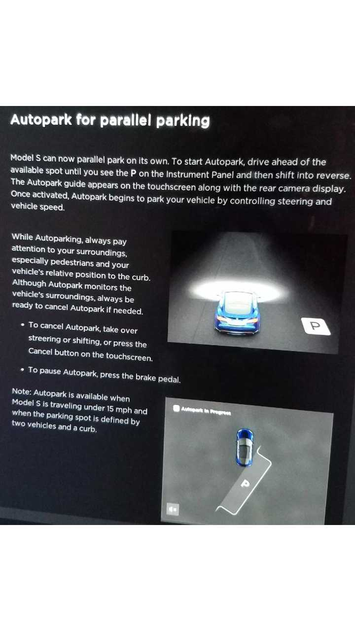 Software Update Brings Autopark To Tesla's Equipped With Enhanced Autopilot