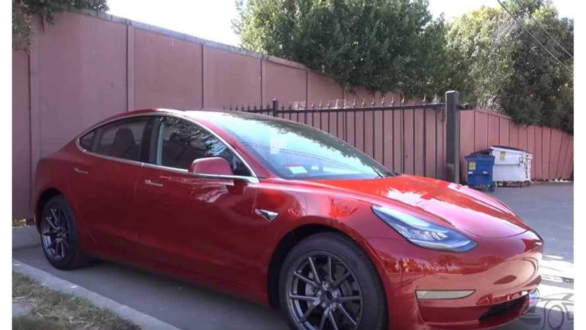 Red Tesla Model 3 Matte Wrapped S Plus Model 3 Interior